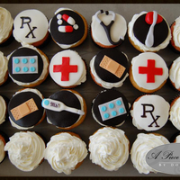 Doctor/medical Cupcakes with fondant accents