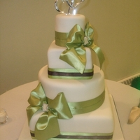 Green Ribbon Wedding Fondant covered with real ribbon