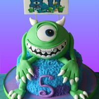 "Monster University Theme 6 Ball Cake On A 9 Cake Sign Is An Edible Image Plaque Monster University theme. 6"" ball cake on a 9"" cake. Sign is an edible image plaque."