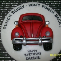 Vw Bug Birthday Cake Banana cake with Peanut Butter icing for my son's 15th birthday. 2D volks wagon bug (he plays that game with his Dad all the time!)....