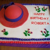 Red Hat Society Cake This is a French Vanilla Cake decorated with buttercream frosting. The hat is a styrofoam half ball on top of an 8 inch cake circle, then...