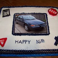 16Th Birthday This is a Marble Fudge cake decorated in Buttercream. The picture of the car is mounted on the back side of a piece of cake board and then...