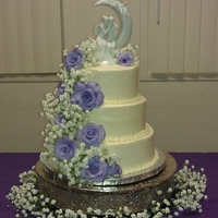Purple Fondant Roses buttercream with fondant roses