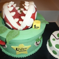 Mario Brothers 1St Birthday!   All buttercream except for the plant which is fondant covered RKT :-)