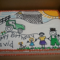 Child's Drawing Customer wanted cake as though it was a picture their grandchild had drawn.