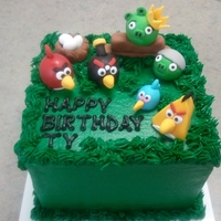 "Angry Birds 6"" square, all fondant angry birds, pigs and nest w/ eggs."
