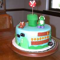 Mario Bros. Cake Fondant covered and fondant figues