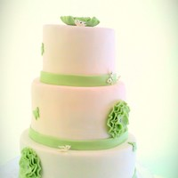 White And Green   A cake i did for a babies christening. White fondant with green gumpaste flowers.