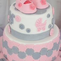 Pink And Grey Baby Shower Cake Made For A Friends Baby Shower   Pink and Grey baby shower cake made for a friends baby shower