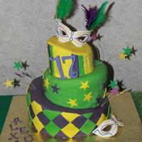 Topsy Turvy Mardi Gras Cake *Topsy turvy cake made for my cousin's Mardi Gras theme birthday party. I had to travel with it 4 hours in a car, so it looks kinda...
