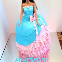 "Barbie Dress Cake *This is the second Barbie dress cake that I've made. Used tutorial from Youtube ""MackandNorm"". Thanks."