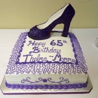 "Copy Of Purple Glitter Louboutin Shoe 12"" yellow cake w/lemon filling buttercream frosting and gumpaste shoe. 1st time making a shoe, failed the first try but prayed and..."