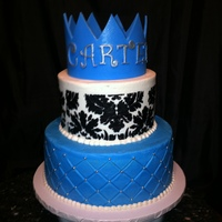 Buttercream Iced Cake With Fondant Crown And Buttercream Stenciled Design Buttercream iced cake with fondant crown and buttercream stenciled design