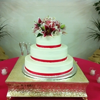 Simple White cake, raspberry and lemon filling fresh floral topper