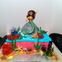 Mermaid Theme This cake was made about 2 years ago for a mermaid theme birthday. All coral pieces made from isomalt, sea shells were made from fondant
