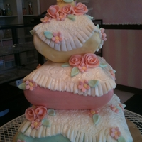 Pillows Baby Shower Cake fondant pillows blankets baby and flowers