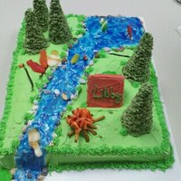 Camping/fishing Theme Cake I made this cake for a friend's bridal shower. The couple did a lot of camping and fishing together. There are gummy fish, swedish...