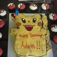 Pikachu And Pokemon Ball Cupcakes 10 year old wanted Pikachu cake for his birthday. This one is chocolate with butter cream frosting. The cupcakes are also chocolate with BC...