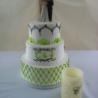 Lime Green With Black all white cake with buttercream.