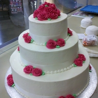 Hot Pink Rose Cake 3-Tiered Hot Pink Rose Cake
