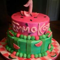 Watermelon Birthday Cake Recreated this from a photo my friend brought me.