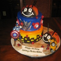 Transformer Capt America Saves The City From Decepticon And Giant Ladybug Cake....whew!! My friends triplets, wanted a Capt America, Transformer and Ladybug cake and this is what we came up with. The ladybugs are from a half...