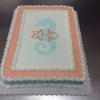 Stenciled Seahorse With Monogram Done In Buttercream Stenciled seahorse with monogram done in buttercream