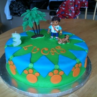 Go Diego Go Chocolate cake covered in buttercream with fondant details.