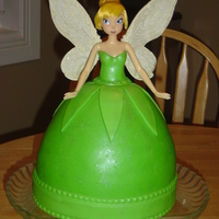 Tinker Bell Tinker Bell covered in fondant for my daughter 5th birthday.