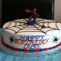 Spiderman Made this for my nephew's 4th birthday. Cover in buttercream.