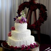 Heart 3 Tier White Wedding Cake this is a buttercream with white fondant.