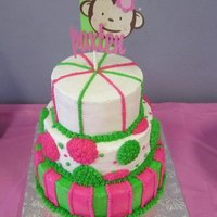 "Mod Monkey 1St Birthday 1st birthday cake for a little girl to match her ""Mod Monkey"" themed party."
