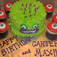 Monster Birthday Cake And Cupcakes