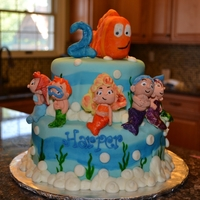 Bubble Guppies Cake gum past figures, fondant covered 2 tier cake