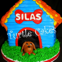 Bow Wow, Silas Is 1! Dog house cake with fondant puppy at the door; matching smash cake and cupcakes for the 1st birthday cupcake tower~