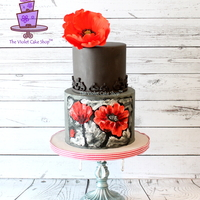 2D Buttercream Painted & 3D Gumpaste Poppy Art Inspired Cake This is my first cake of 2015… Made this for my brother-in-law's milestone 45th birthday. I wanted to practice the...