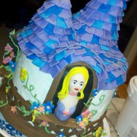 Rapunzel Rapunzel cake inspired by Tangled. The roof and tower were constructed from rice cereal treats. The cakes are frosted in buttercream,...