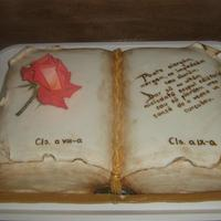 Book Cake Againall Made In Fondant With Fresh Rose *book cake, again...all made in fondant with fresh rose.