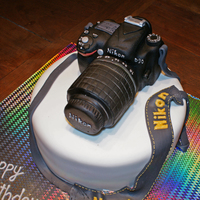 Nikon Camera Cake Chocolate Mud Cake with Rice Krispy treat camera