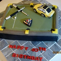 The Man's Cake   Two of his favourite things...his car and billiards. Loved making the ceramic tile floor!