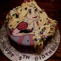 Rapunzel   Face and body is painted gum paste, hair and flowers fondant.