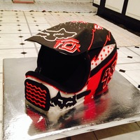 Dirtbike Helmet Cake  3D Dirtbike helmet cake for my friend's 25h birthday. Cake is three layer WASC with bottom layer a 14x14 square (placed on angle) and...