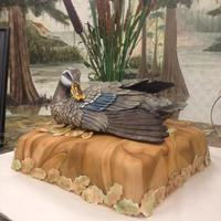 Duck Hunter   First attempt at 3D fondant camo cake. Duck and Cat tails are fake. Cake is french vanilla covered in Fondant