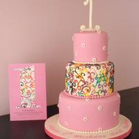 "Birthday Swirls Cake made to match the birthday invite. 4"", 6"", 8"" rounds. Piping in Royal Icing. TFL!"