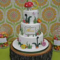 "Tinker Bell Party 5"", 7"", 9"" rounds. The mushroom topper is rice krispy treat. Gumpaste flowers (peony, hydrangea, ranunculous and others)...."