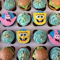 Spongebob Squarepants Cupcakes   cupcakes with handmade SpongeBob, Patrick, and Krabby Patty toppers