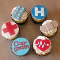Medical-Themed Cupcakes   Made for someone completing their paramedic training