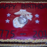 Marine 235Th Birthday   Chocolate cake, w/ chocolate molds. Thank you to everyone who had already done cakes like this, I was so worried about what to do.