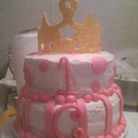 First Birthday Princess Crown from gumpaste, painted with goldish food coloring. 2 tier with BC icing, MMF stripes & dots.