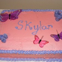Butterfly Pink & Purple Cake Pink & Purple BC sheet cake with Butterflies
